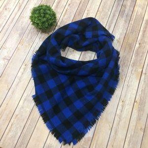 Accessories - Blue Black Buffalo Check Plaid Blanket Scarf